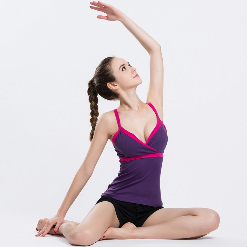 Wanita Sexy Fitness Spandex Gym Rompi Colorful Underwear untuk Menjalankan Yoga Gym (Ungu)-Intl
