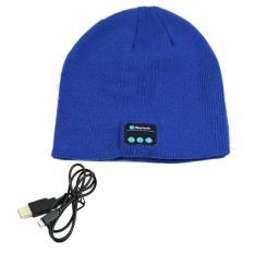 Hangat Topi Kerpus Nirkabel Bluetooth Smart Cap headphone Headset Speaker MIC (biru)