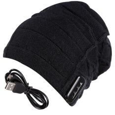 Hangat Topi Kerpus Nirkabel Bluetooth Headset Cerdas Speaker MIC (hitam)
