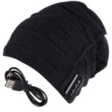 Spek Topi Hangat Beanie Wireless Bluetooth Headset And Mikrofon Pengeras Suara Hitam