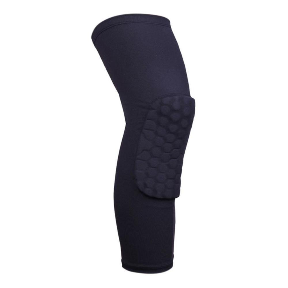 Perlengkapan Basket Termurah Knee Support Deker Lutut Dengan Magnet Warna Murni Bernapas Honeycomb Olahraga Outdoors Pro Dukungan Kneepad Black L