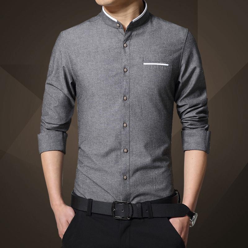 Tips Beli Warna Solid Pria Lengan Panjang Kemeja Slim Kemeja Putih Abu Abu Gelap Yang Bagus