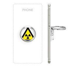 Simbol Peringatan Kuning Hitam Ionisasi Radiasi Segitiga Tanda Mark Logo Pemberitahuan Logam Rotasi Cincin Berdiri Pemegang Bracket untuk Smartphone Sel Ponsel Penopang Aksesoris-Intl