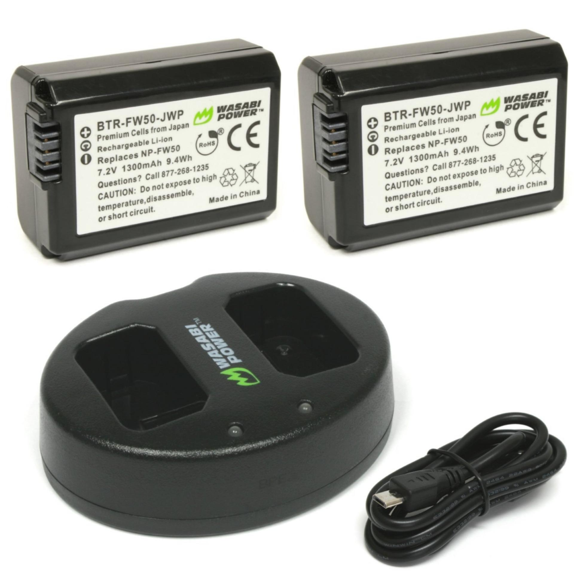Wasabi Power Battery 2 Pack And Dual Usb Charger For Sony Np Fw50 Original