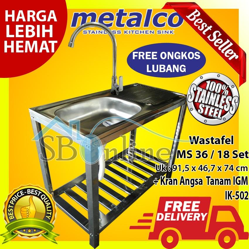 Wasbak/ Wastafel/ Bak Cuci Piring Metalco MS 36 / 18 Set Portable Knock Down Stainless dan Kran Angsa Tanam IGM IK-502