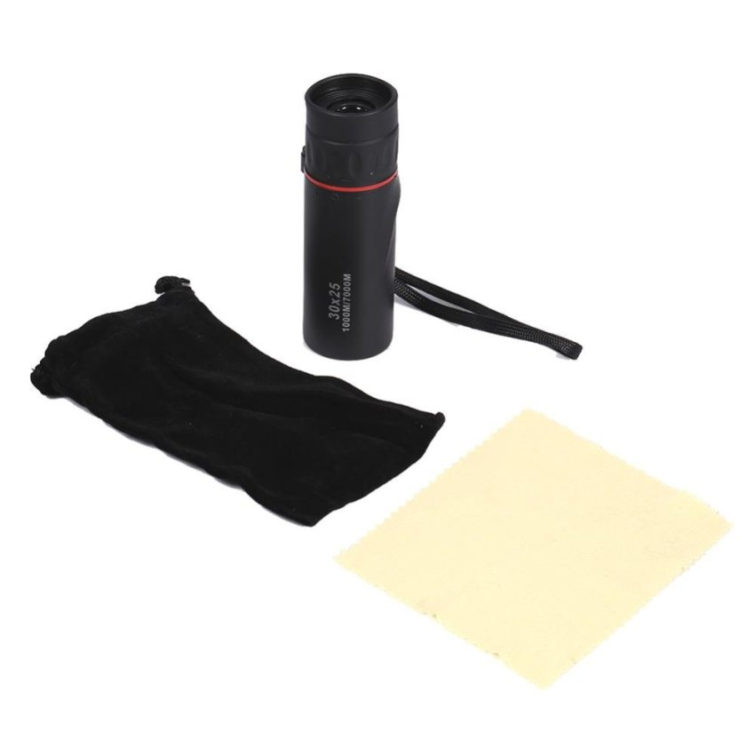 Harga Tahan Air Hitam 30 X 25 Optical Bermata Fokus Teleskop Zoomable 10 X Outdoor Scope Baru Murah
