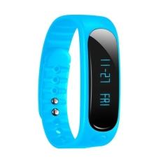 Tahan Air Bluetooth Smart Gelang E02 Gelang Kesehatan Kebugaran Tracker Smartband Olahraga Jam Tangan untuk IOS/iPhone/Android Smart Phone (biru)