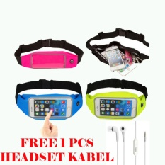 Waterproof Sport Waist Bag for Handphone Android+Free Headset Kabel for Samsung Galaxy J2 Prome /GrandPrime Plus/On5 Pro/E5 - Pink