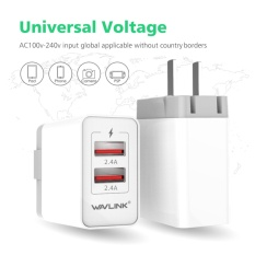 Harga Wavlink 2 Port 24 W 4 8A Wall Charger Travel Charger Dengan Quick Charge Usb 3 Dan Dapat Dilipat Plug Us Plug Terbaik