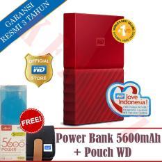 WD My Passport New Design 4TB/2.5Inch/USB3.0 - Merah+Free Pouch+Powerbank