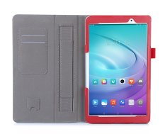 We&Me PU Leather Case Stand Cover for Huawei MediaPad T2 10.0 Pro 10 inch Tablet with Velcro Hand Strap and Card Slots Shell (Red) - intl