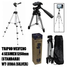 Harga Weifeng Portable Tripod Stand 4 Section Aluminium Legs With Brace Wt 3110A Silver Termurah