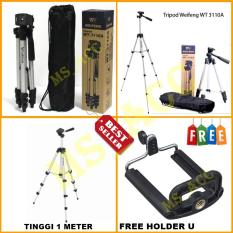 Weifeng Tripod WT-3110A - Tripod Untuk Kamera Dan Handphone Tinggi 1 Meter Free Holder U & Tas Tripod [ sm_acc ]