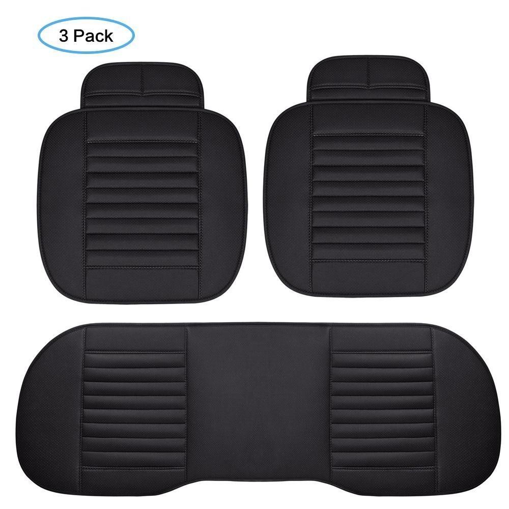 Weisizhong 2 PC Interior Mobil Seat Cover Cushion PU Kulit Breathable Pad Arang Bambu Mat untuk Auto Depan Kursi Kantor Kursi (Hitam) -Intl