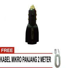 Wellcomm Charger Mobil 2 Konektor 3.1Amp + Gratis Kabel Mikro Panjang 2 Meter - Hitam