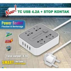 Wellcomm Charger Power Socket 4 usb 4.2A Stop Kontak ( Multifungsi )