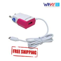Wellcomm Travel Charger Dual Connector 1A For Android - Pink
