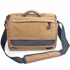 Werproof Travel Bag Khaki Abu-abu Kanvas DSLR Camera Shoulder Bag untuk Canon 600D 650D 700D 760D 750D 1000D 1100D 1200D -Intl