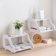 Putih Penyimpanan Rak Dinding Dekoratif Rumah Wifi Router Shelf Wall Mounted TV Set Up Box Storage Rack Car Berbentuk Holder -Intl