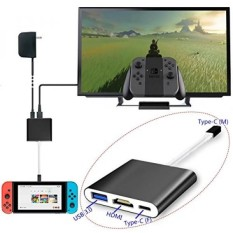Whiteoak Aluminum HDMI Type C Hub Adapter for Nintendo Switch, Samsung Galaxy S8/S8 Plus, MacBook, Chromebook Pixel, HDMI Converter Cable with USB-C Charging Port(Black)