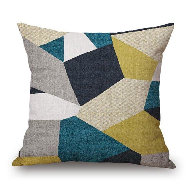 Wholesale Customized Tidak Teratur Pola Geometris Linen Cotton Bantal Bantal Bantal untuk Kursi Kantor (Multicolor5)-Intl