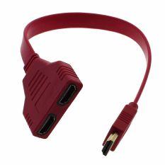 Spesifikasi Whyus Pendek Flat Hdmi 1 Untuk 2 Splitter Kabel Male To Female M F Keluar Adapter Converter Merah Terbaik