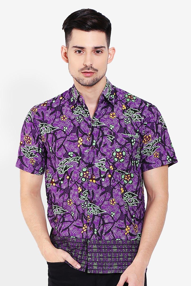 Winggo  Men Muslim Wear Shirts Batik Shirts  Pria Wear Shirts Muslim Shirts Batik Purple Ungu Diskon discount murah bazaar baju celana fashion brand branded