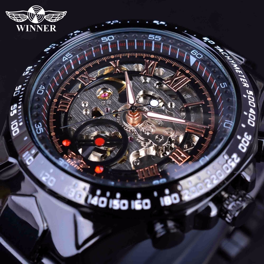 Review Winner 2017 Sport Racing Design Stainless Steel Case Men Military Watch Top Brand Luxury Automatic Mechanical Skeleton Watch Intl