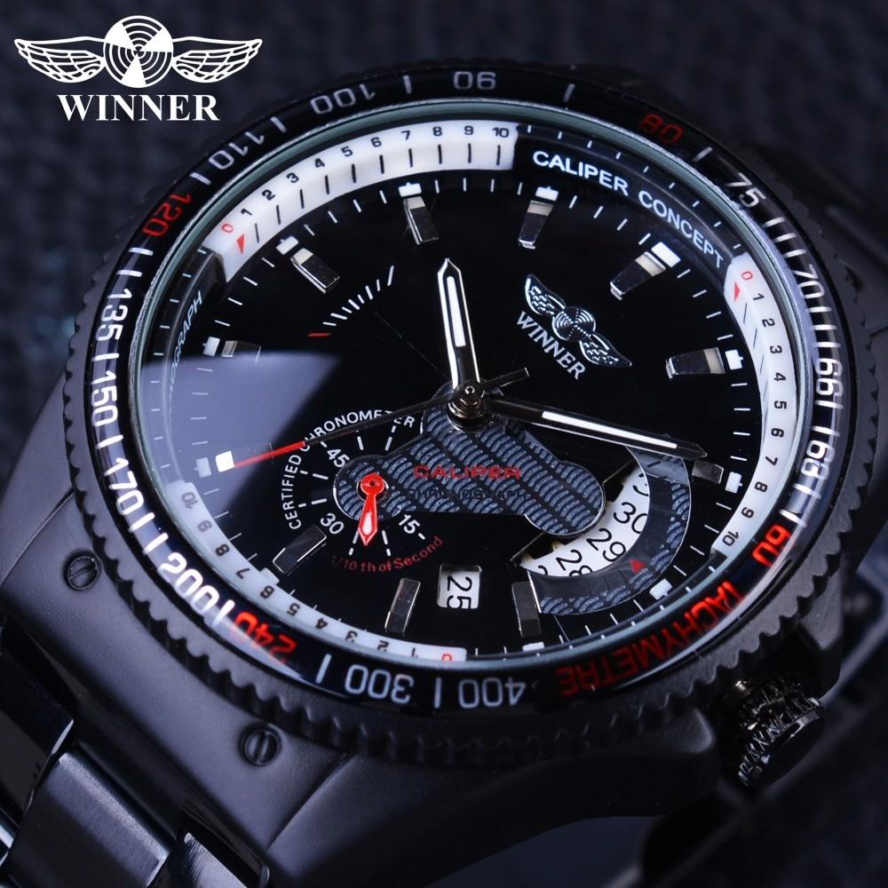 Winner GMT991 2017 Racing Design Black Stainless Steel Calendar Display Mens Watches Top Brand Luxury Mechanical Automatic Watch Clock - intl