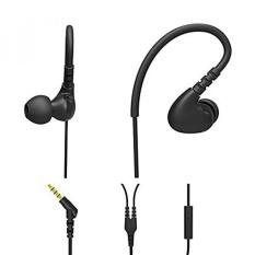 Wired Earphone Di Telinga dengan Mic, Pembatalan Kebisingan, Headphone dengan Kait, Hi Fi Stereo, Bass, Sweatproof Headset untuk Olahraga (Hitam) LANAU-Intl