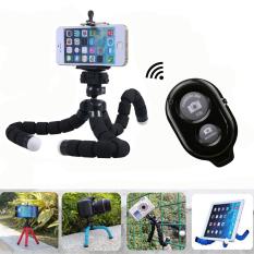Jual Nirkabel Bluetooth Remote Rana Tombol Gurita Selfie Dudukan Tripod Fleksibel For Smartphone And Kamera Hitam International
