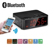 Review Wireless Desktop Bluetooth Time Led Display Alarm Clock With Stereo Speaker Fm Radio Black Intl Di Tiongkok