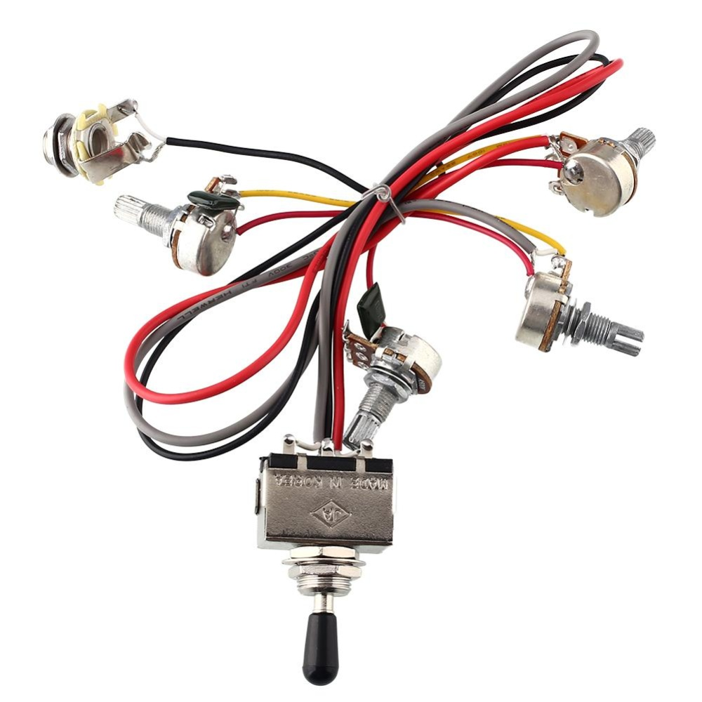 Jual Wiring Harness 2 V 2 T 3 Way Pickup Toggle Switch 500 K Pot Gitar Baru Internasional Lengkap