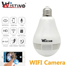 Wistino 3MP Wireless VR Panoramic IP Camera Bulb Light Wifi FishEye 360 Derajat CCTV Surveillance Home Security Monitor Wistino- INTL