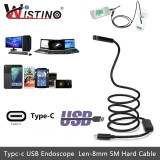 Diskon Wistino 8Mm Mini Endoscope Camera Android Type C Usb 5M Hard Snake Cable Waterproof Type C Inspection Surveillance Intl