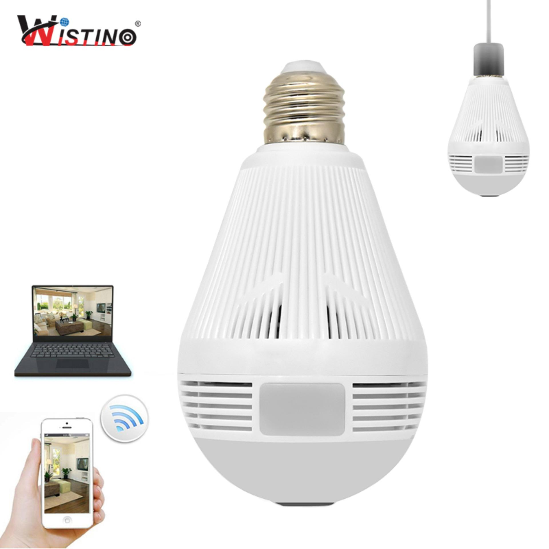 Wistino CCTV 960 P Wireless IP Kamera Bulb VR Panoramic Camera Light Wifi FishEye 360 Derajat Home Surveillance Security Monitor XMeye-Intl