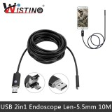 Toko Jual Wistino Mini 2In1 Micro Usb Endoskopi Kamera 10 M Android Pc 5 5Mm Len Ip67 Inspeksi Surveilans Intl