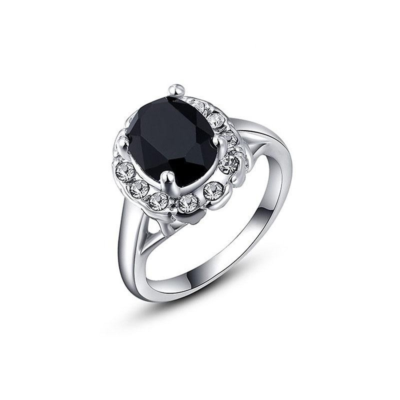 Beli Women Fashion Black Sapphire Crystal Elegant Rose Gold Color Ring Crystals From Austria Intl