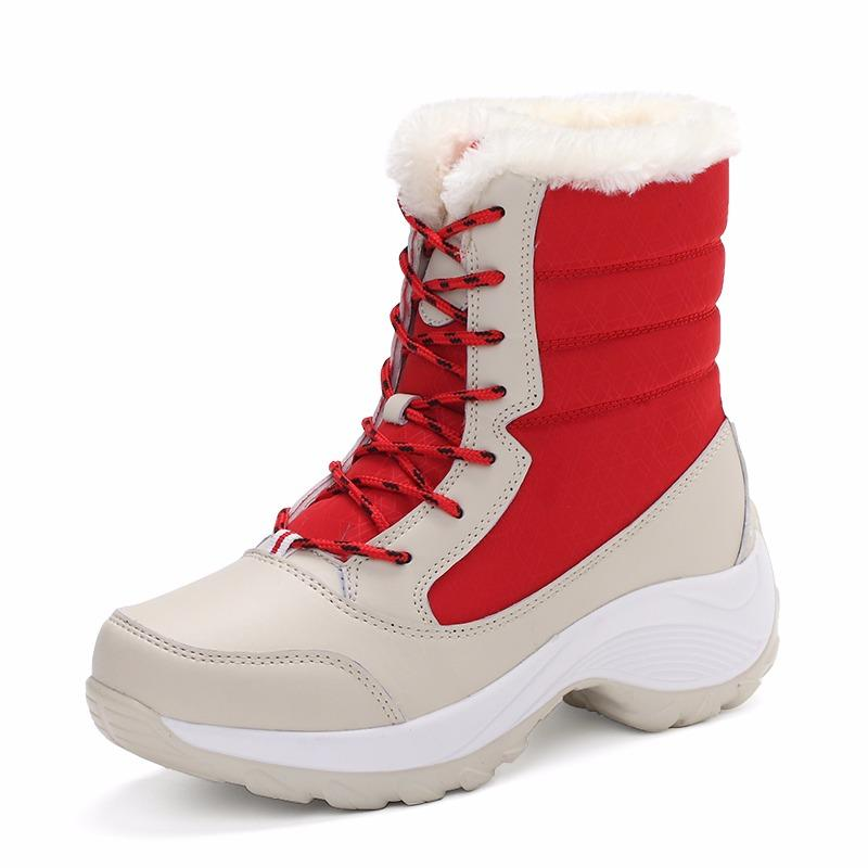 Harga Women Outdoor Snow Boots Waterproof Non Slip 2017 New Fashion Thick Bottom Boots Plus Cashmere Warm Cotton Shoes Yg Bagus