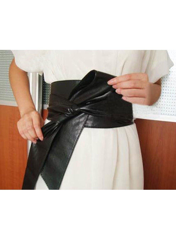 Women PU Leather Soft Self Tie Bowknot Band Wrap Around Sash Obi Belt Black