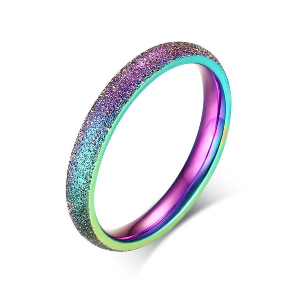 Women Ring 3mm Lebar Stainless Steel Sand Blast Finish Rainbow Warna Cincin Kawin Pertunangan Berkubah Ring-Intl