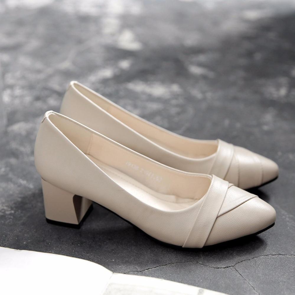 Wanita Sepatu Tali Pergelangan Ujung Runcing 5 Cm Chunky Sepatu Tumit Rendah Ukuran 34-40