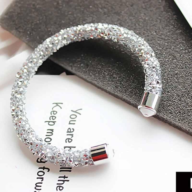 Women Temperamen Paduan Seng Shine Crystal Bangle Charm Perhiasan Aksesoris Pernikahan-Intl