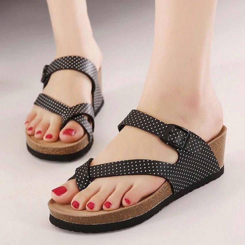 Dapatkan Segera Womens Flat Pu Kasual Sandal Hitam