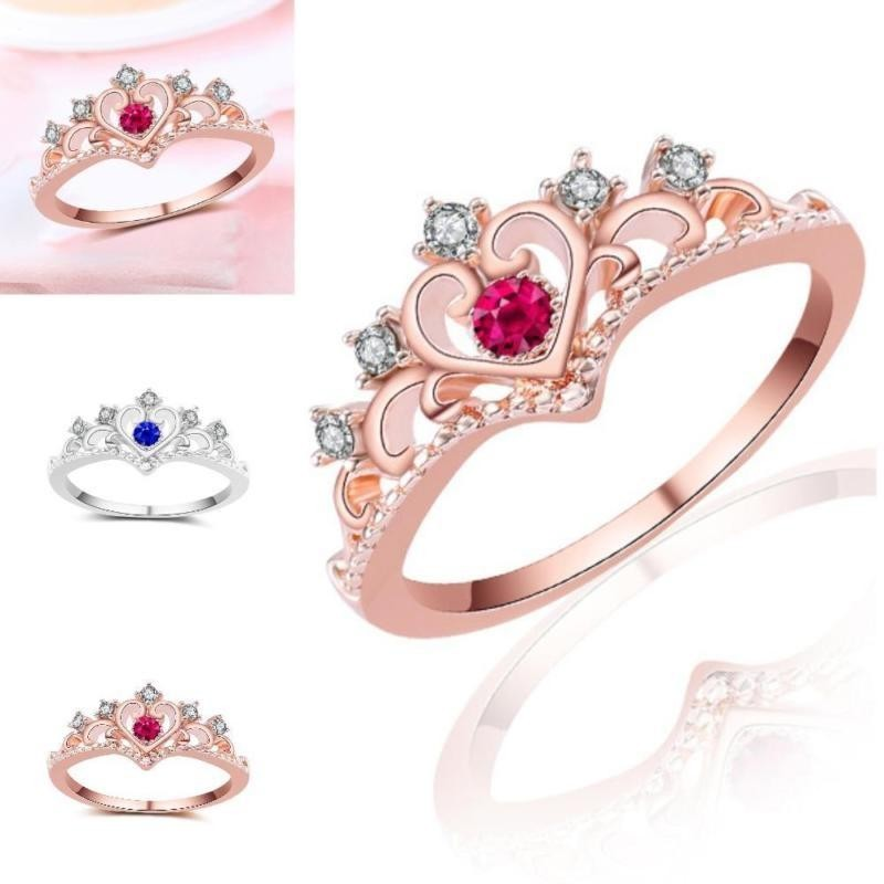 Wonderful Power High Quality Women's 18K Rose Gold Crown Ring Plated Cubic Zirconia Princess Luxury Gorgeous -Rose red-7 - intl