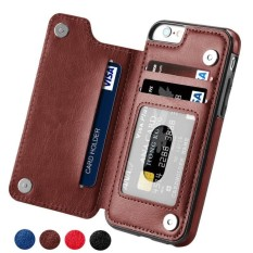 Indah Power Hot Slot Kartu Shockproof Flip Cover UNTUK iPhone 6/6 S/7/6/6 S/ 7 Plus 8/X Pria Wanita Magnetik Dompet Kulit Case Bermutu Tinggi Bisnis-Coklat-iPhone 6/ 6 S-Intl
