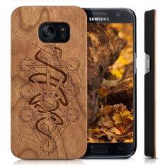 Wooden Case untuk Samsung Galaxy S6 [G9200], Kayu Kasus Smartphone, YUANQIAN Unik Handmade Natural Solid Wood Engraving Wave Case Kayu Wave (Kabala)-Intl