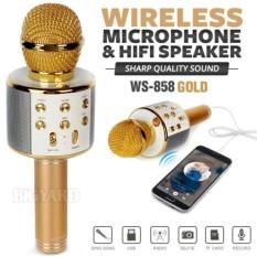 Jual Ws 858 Bluetooth Wireless Speaker Microphone Usb Karaoke Smule Gold