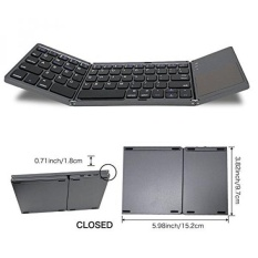 WSTECHCO Folding Bluetooth Keyboard untuk Tablet Samsung Smartphone Portable BT Wireless Foldable Mini Keyboard dengan Touchpad untuk Android TV Box, PC, Tablet Kindle, TRAVEL, Dark Grey Natal Hadiah-Intl