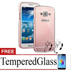 Obral X Case Mirror Aluminium Bumper For Samsung Z2 Free Tempered Glass Rose Gold Murah